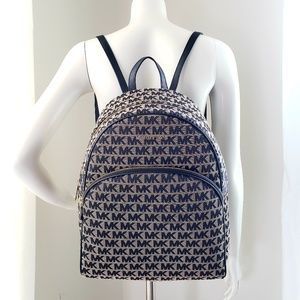 Michael Kors Beige and Black Large Abbey Backpack